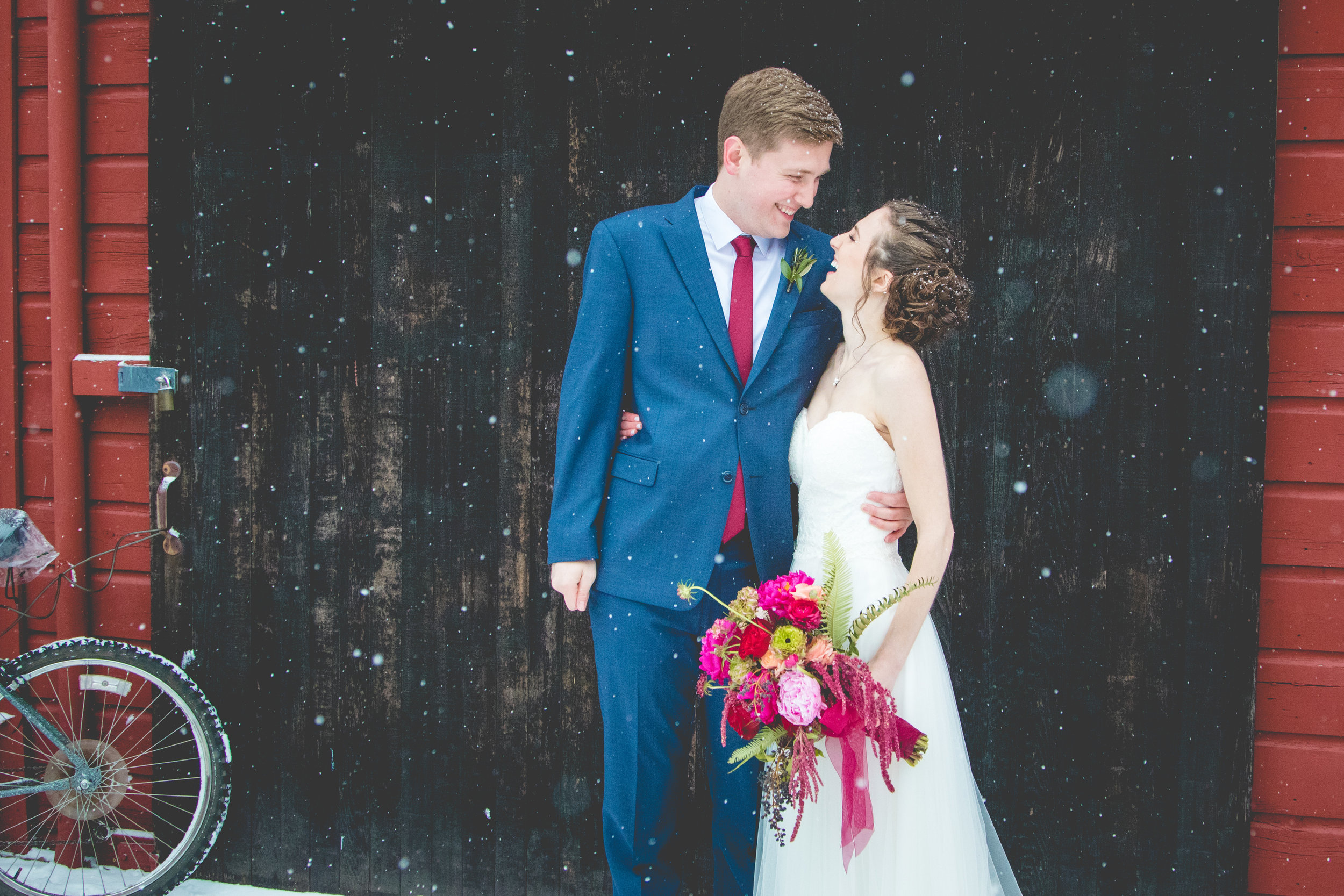 Brandon + Savannah said their sweet vows during a rare snowstorm in Salem, OR.