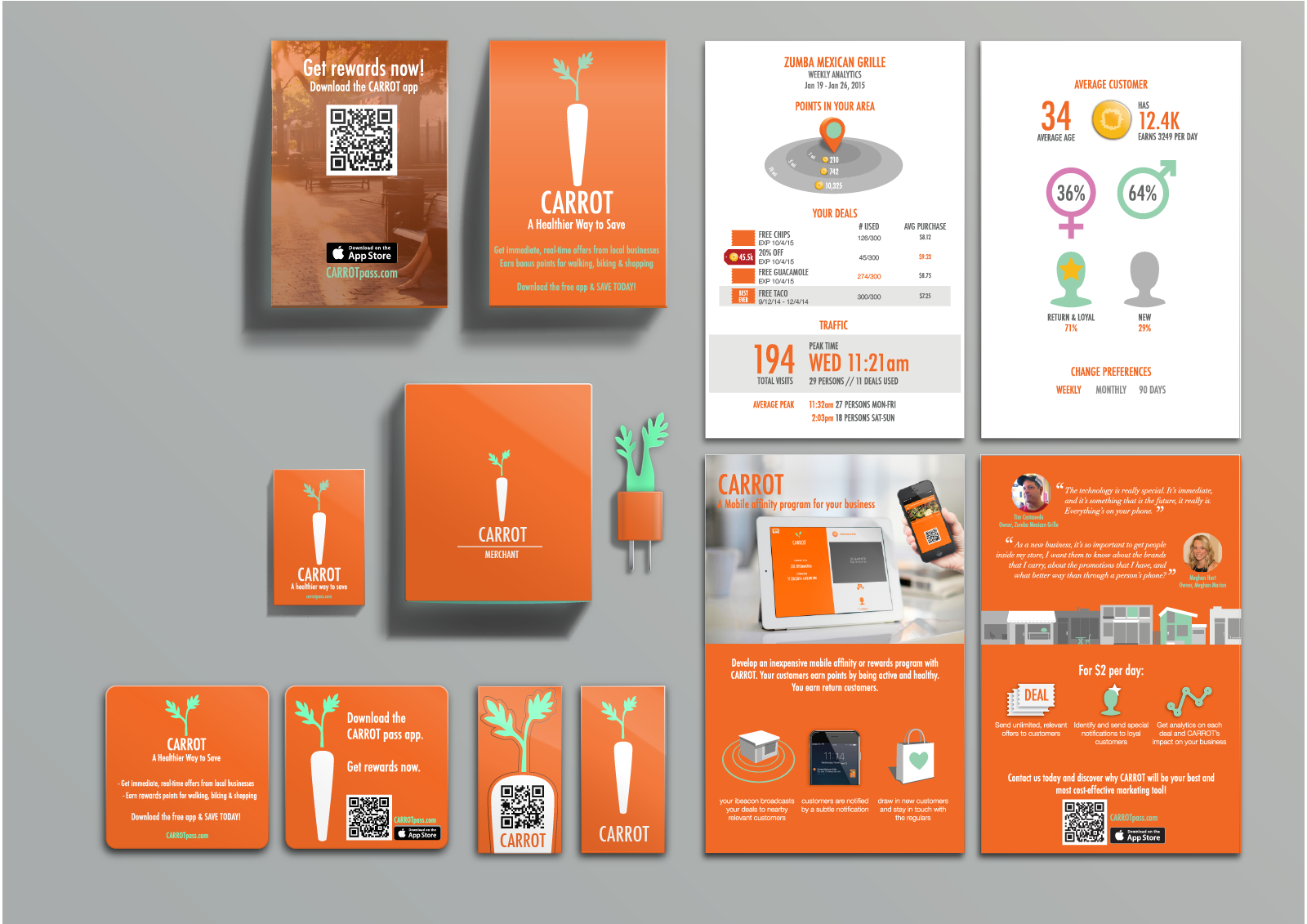 Printed materials for CARROTmerchants and marketing