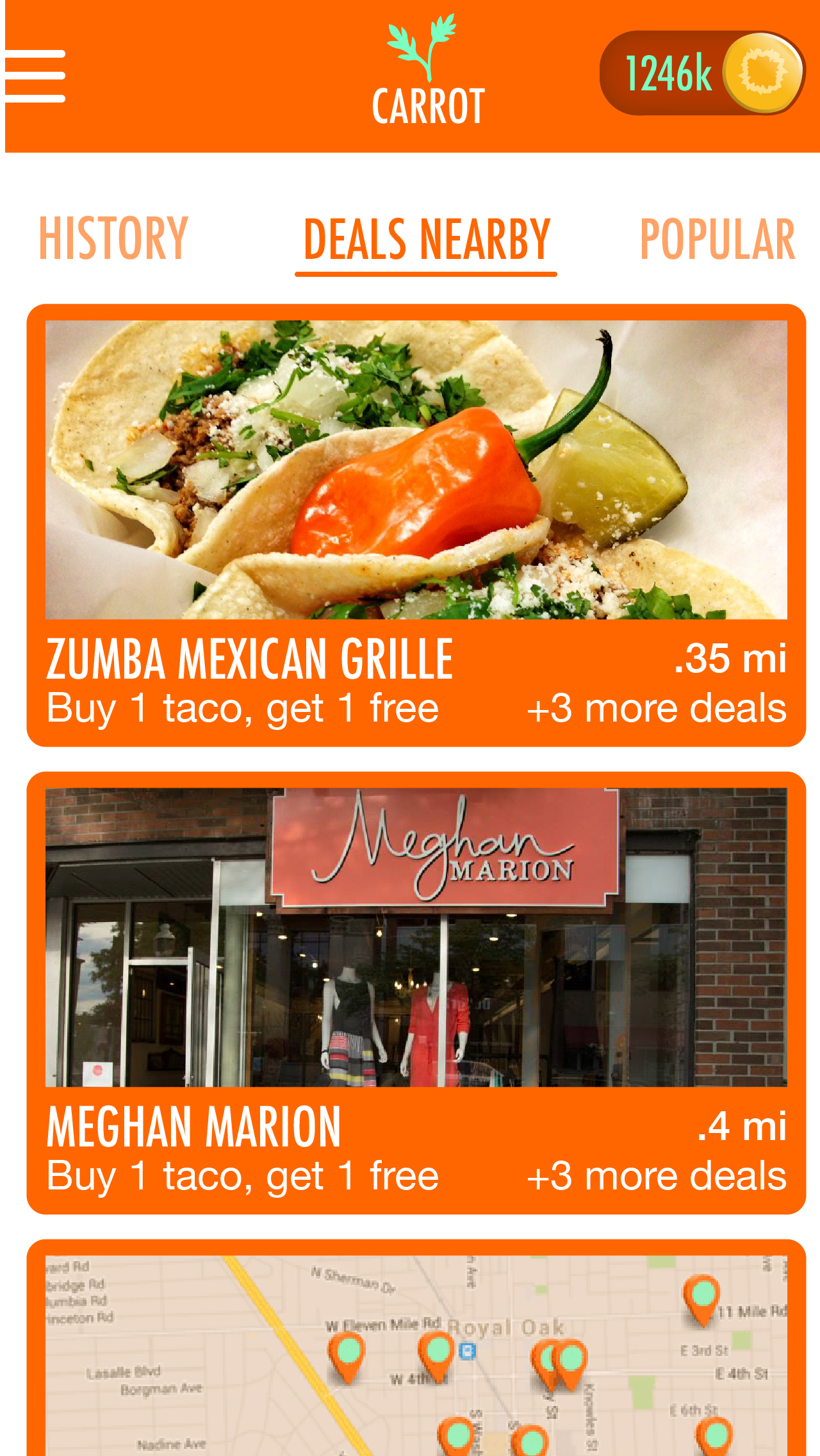 Merchants display a featured deal, but have the option of up to 4 promotions that can be offered.