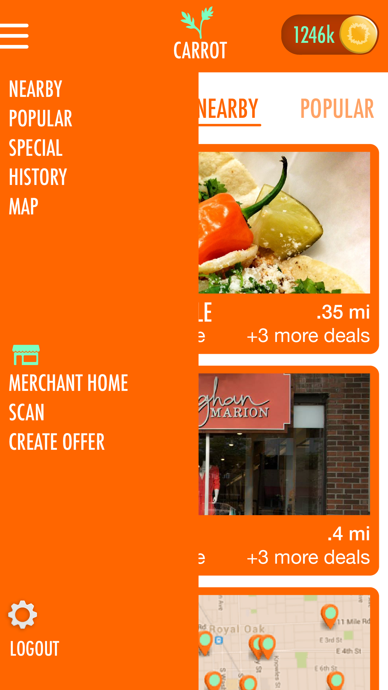 """The menu is both tabbed or accessible through a side bar. """"Special"""" is a placeholder for events, such as the Michigan State Fair and other temporary events.  Merchants toggle between a user view and a managing view for their storefront."""