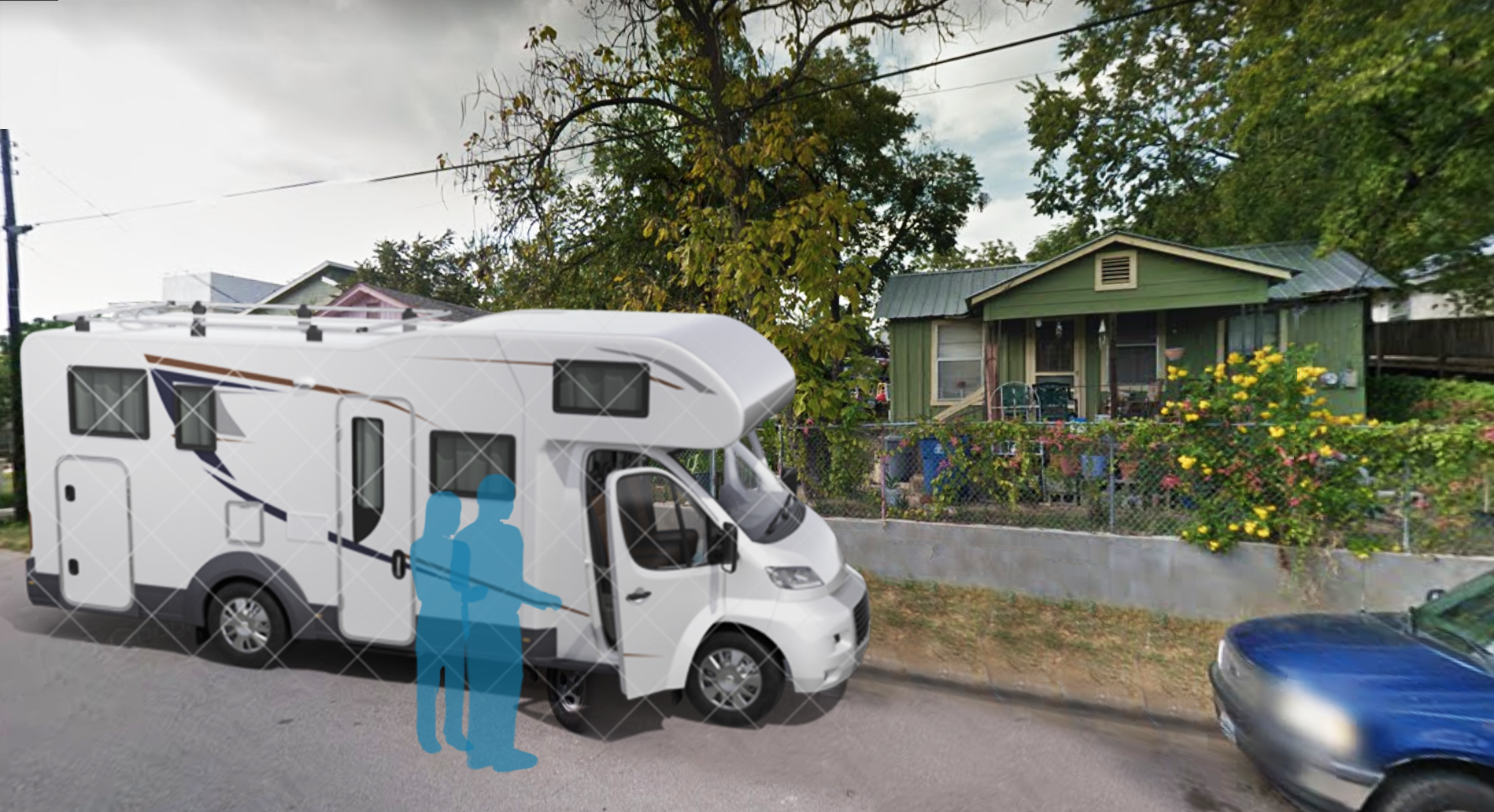 I made a quick photo for context using Google Maps and generic RV 3D model from  Pixel Squid