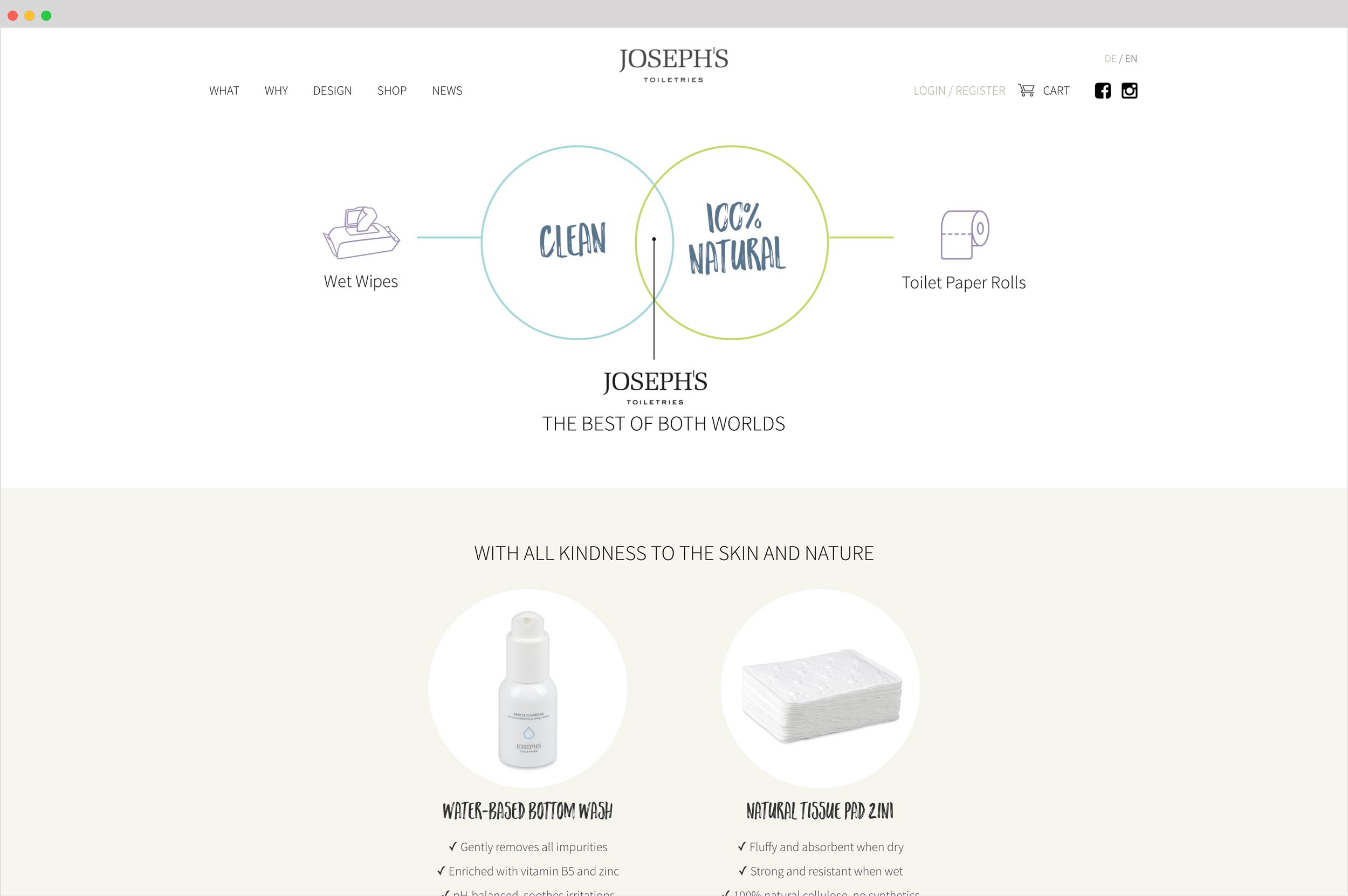 ....Durch feine Pastelltöne, eine Pinselschrift und viel Weissraum kommen Joseph's Produkte auch im Web schön zum Ausdruck...Fine pastels, brushstrokes and lots of whiteness make Joseph's products stand out on the web..... -