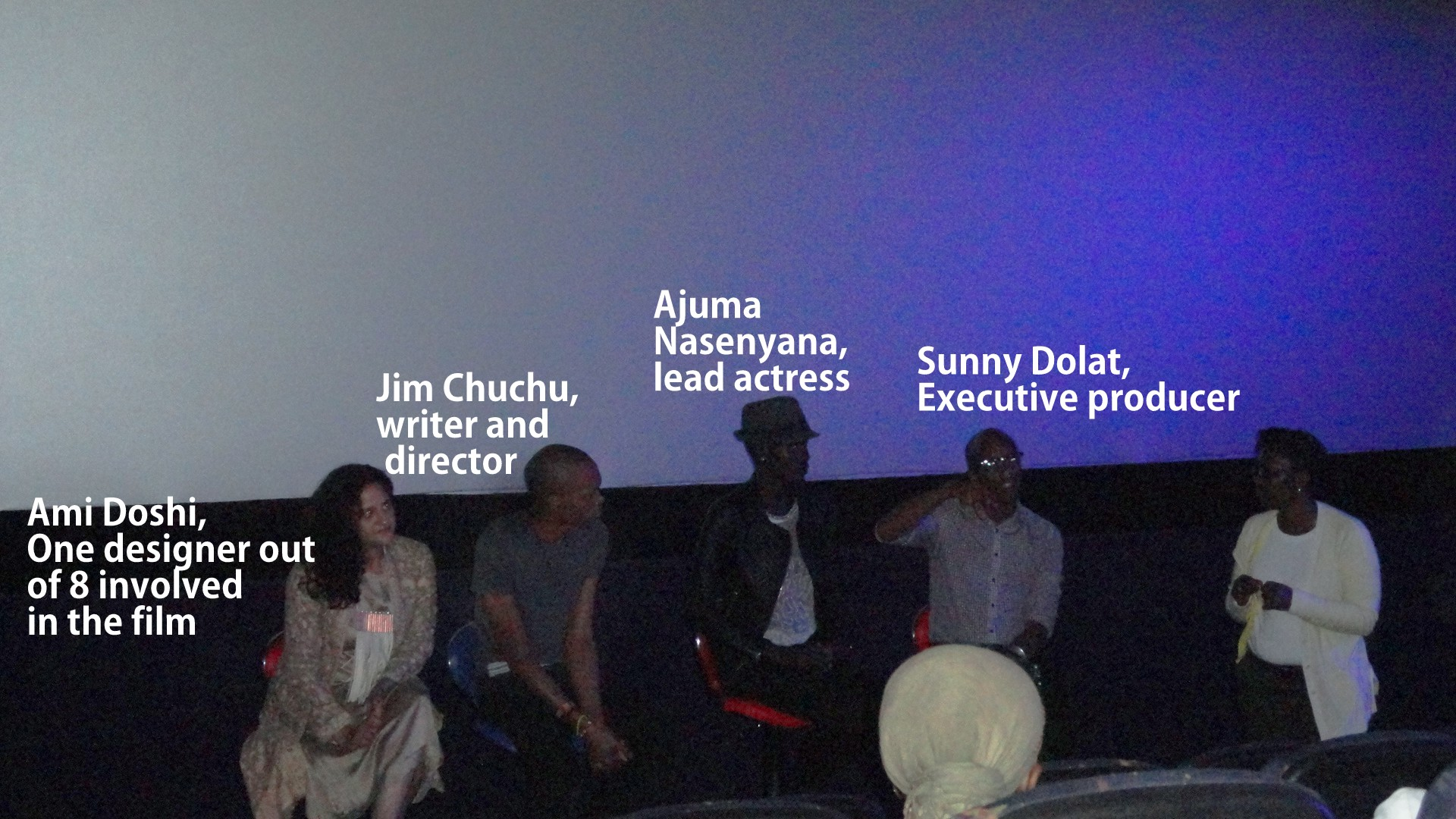 Panel discussion after the first screening, excuse the dark-cinema photo..