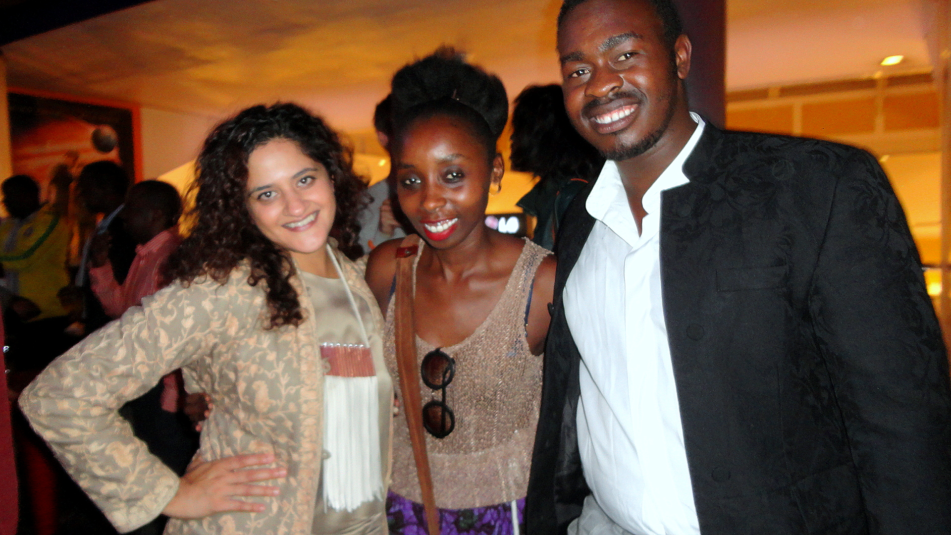 Two of the film's fashion designers, Ami and Namnyak with stylist Babu