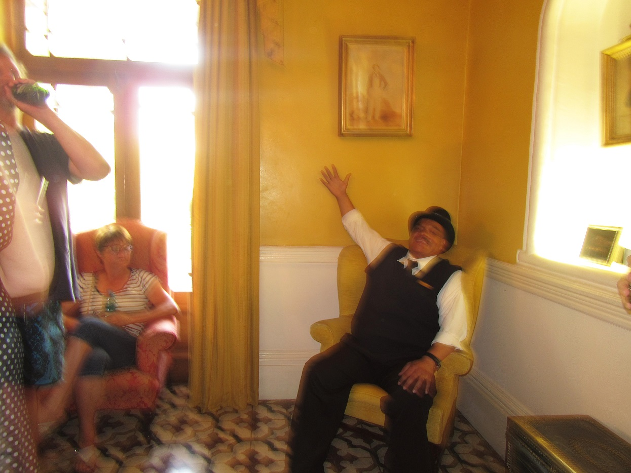 Johnny pointing out a 'ghost' at the Lord Milner Hotel