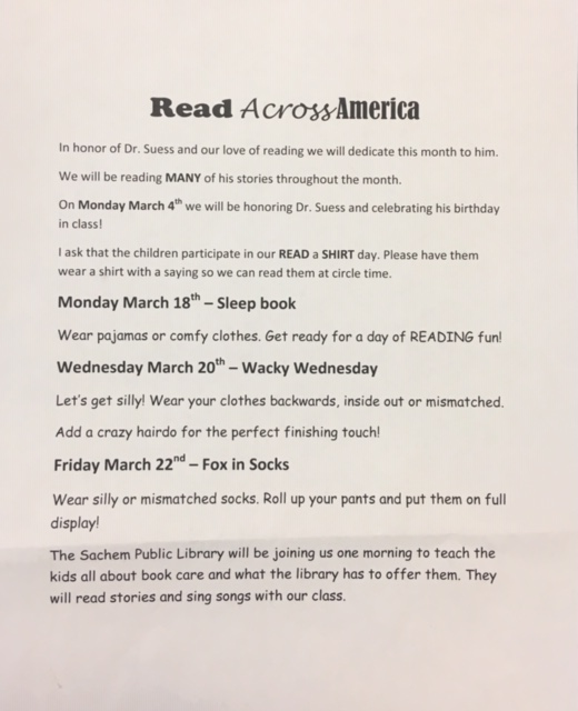 mrs. thomas's class special note - Read across america!