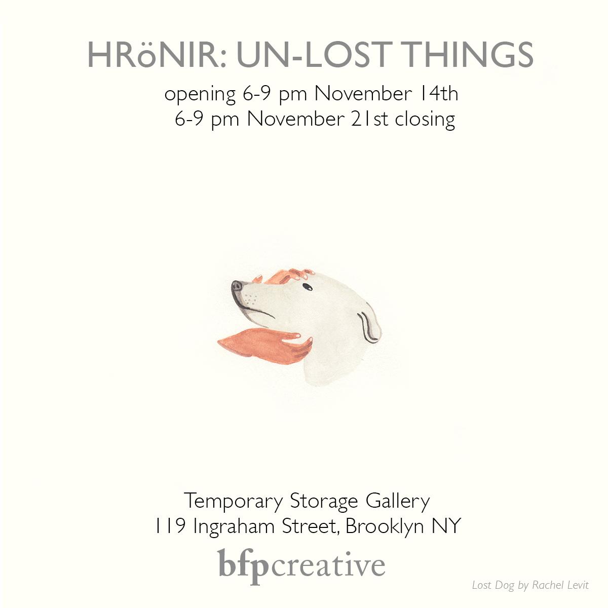 Hrönir: Un-Lost Things invitation. Image by Rachel Levit.
