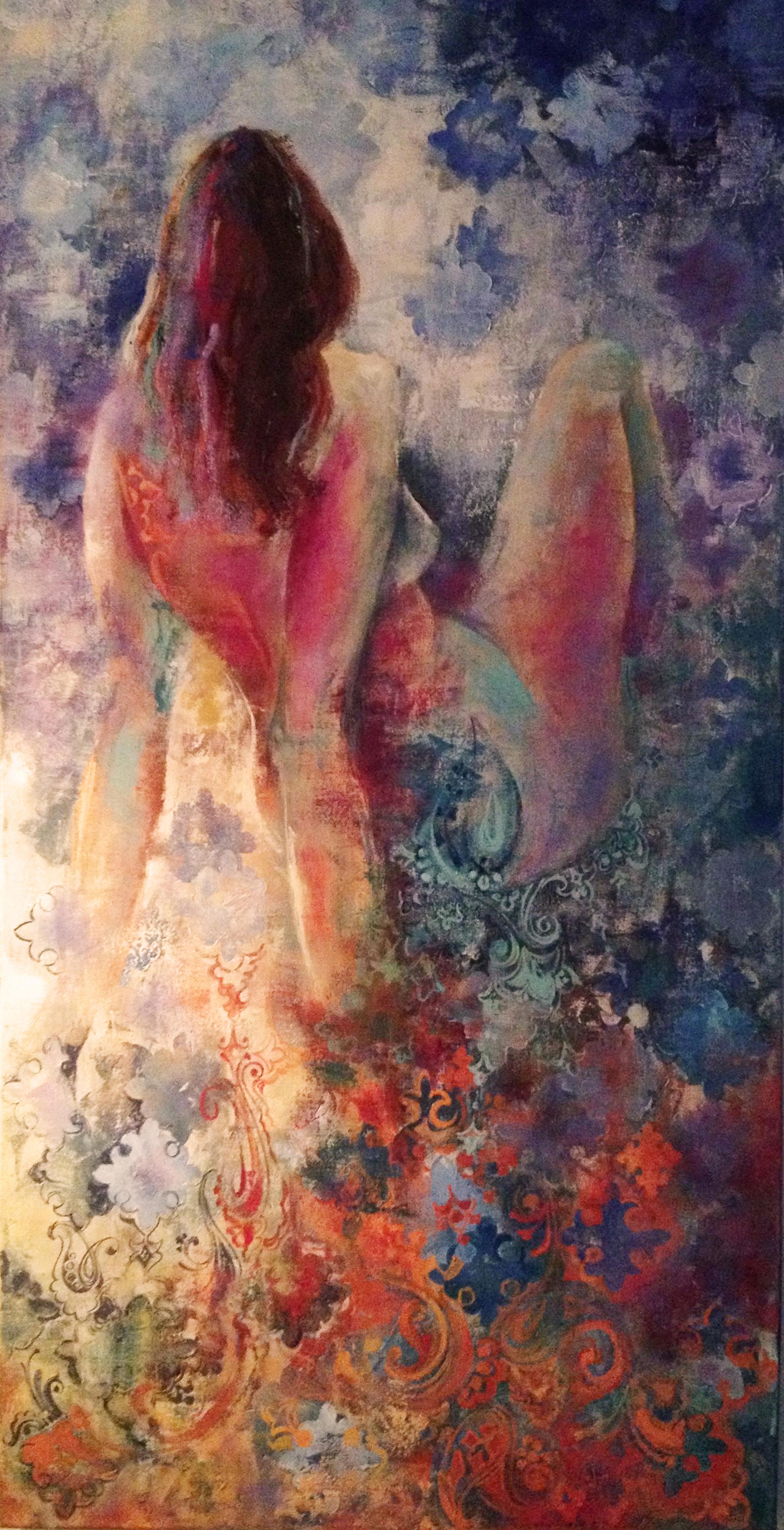 """Biata, 2008.   Acrylic and Oil on canvas, 24"""" x 48""""."""