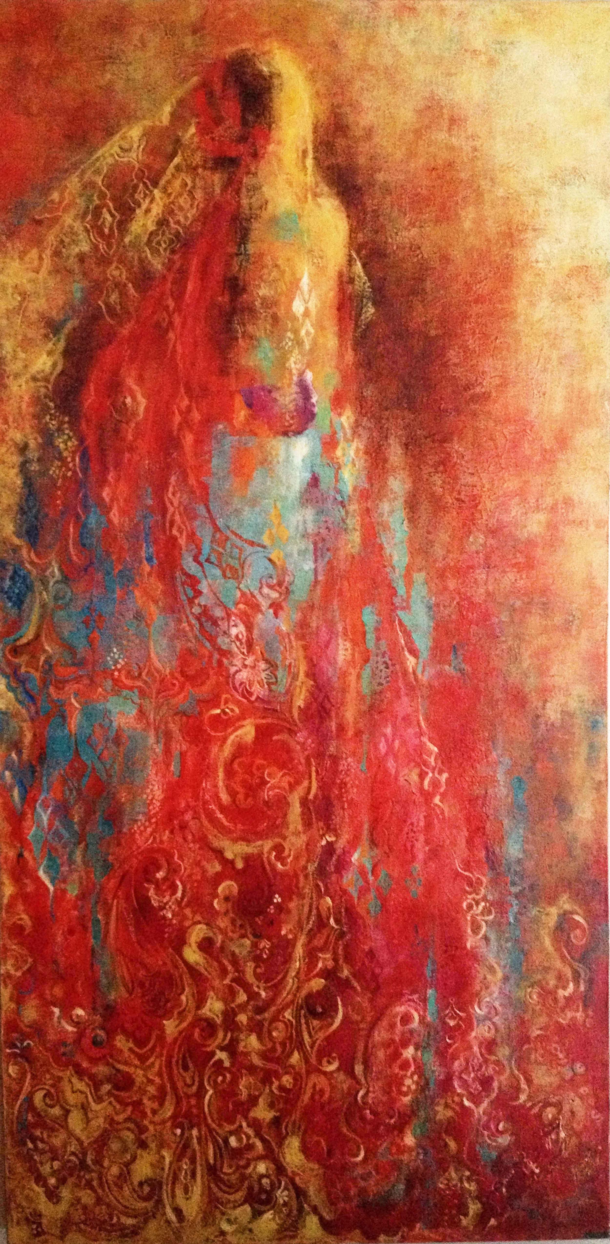 "Leyla, 2008.   Acrylic and Oil on canvas, 24"" x 48""."