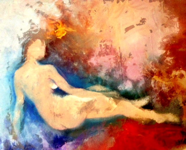 Grand Odalisque    (reinterpreted),2013.      Acrylic on canvas, 6' x 7'.