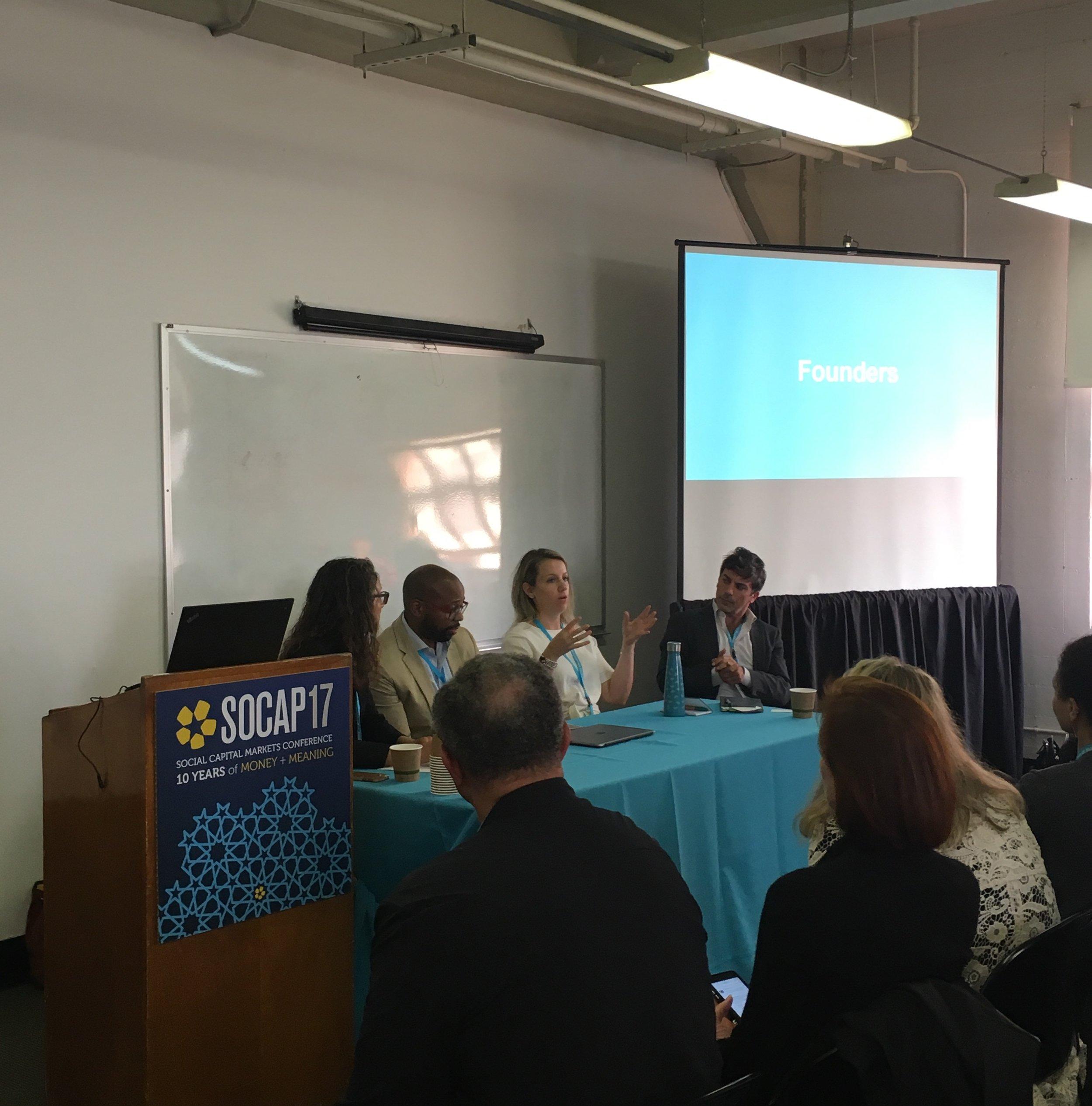 Morgan simon, ellis carr, miljana mujosevic, and andrea armeni on the panel