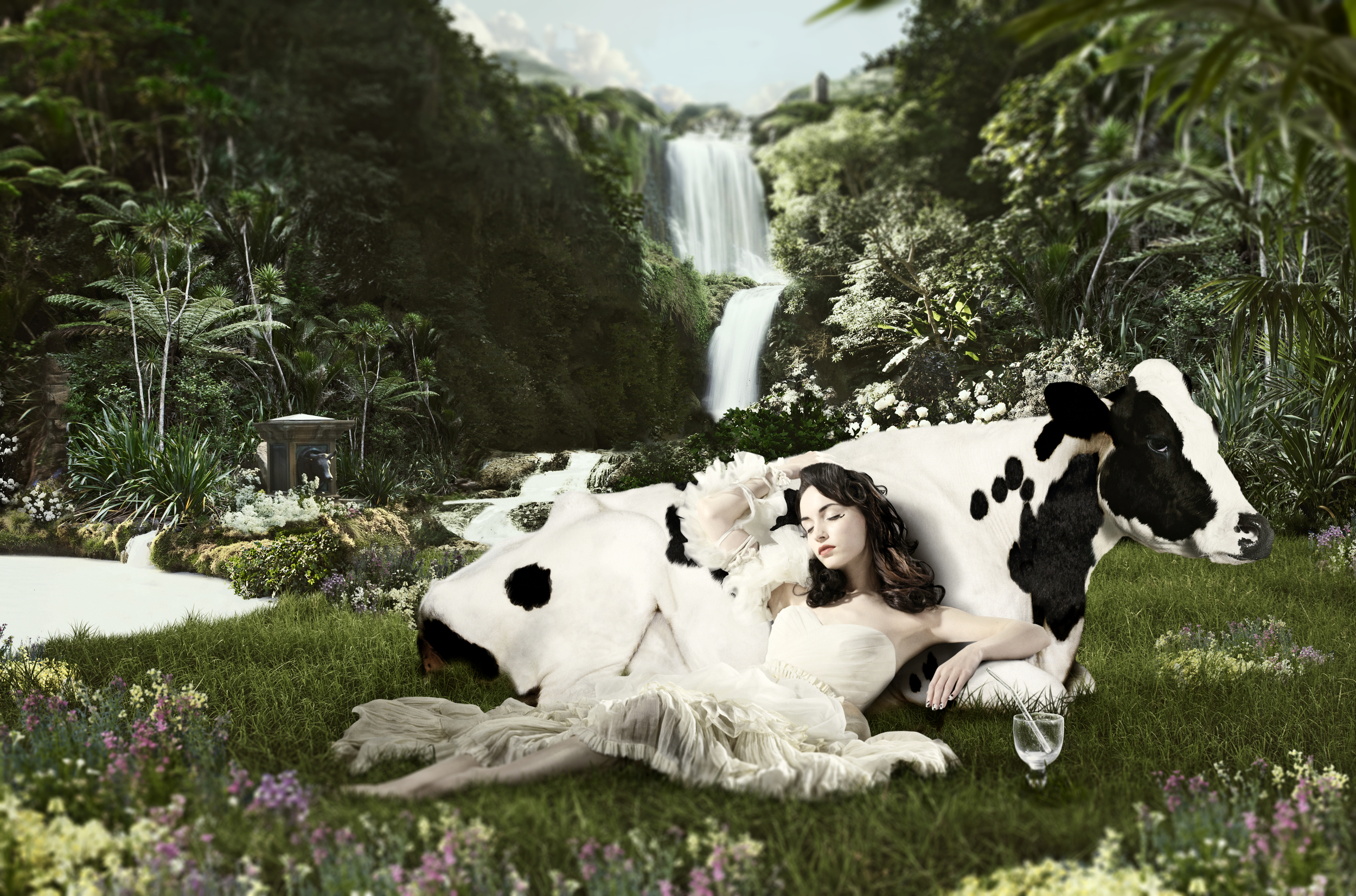 TECHNIQUE - I feel like this image most closely resembles how we could approach the Tasty Bite shoot. First the stock image of the cow was acquired, then the backdrop was created using my personal library, and then in studio we photographed the woman in the scene.