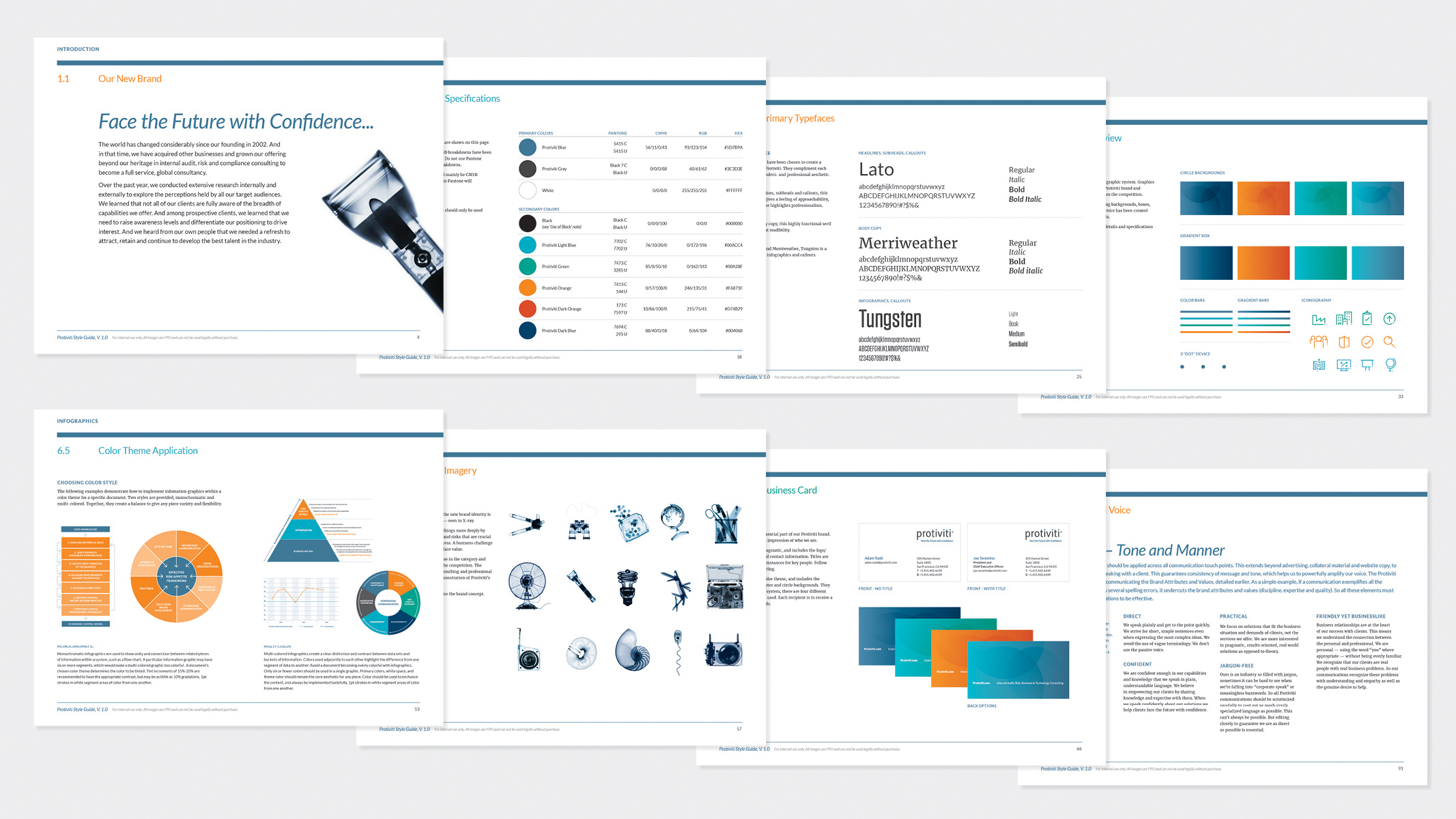 The Mixx authored a comprehensive set of guidelines to ensure that design elements are appropriately and successfully used by Protiviti and their partners. Sections include detailed direction on use of logo, color, typography, graphic elements, charts, and photography.