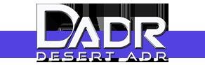 "Desert ADR logo: DADR with ""Desert adr"" underneath"