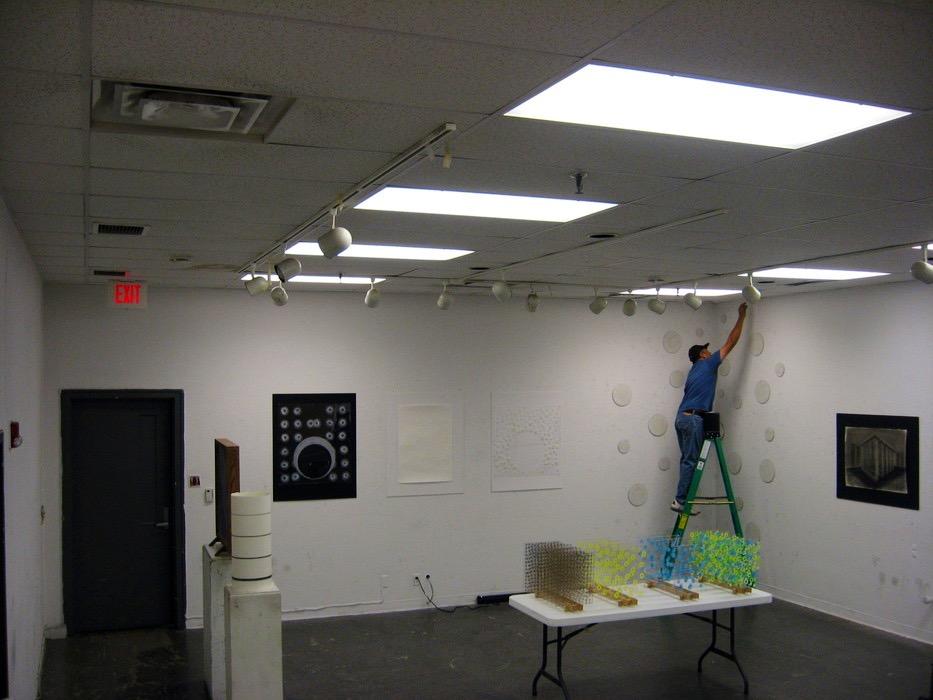 Artist preparing installation, 2008