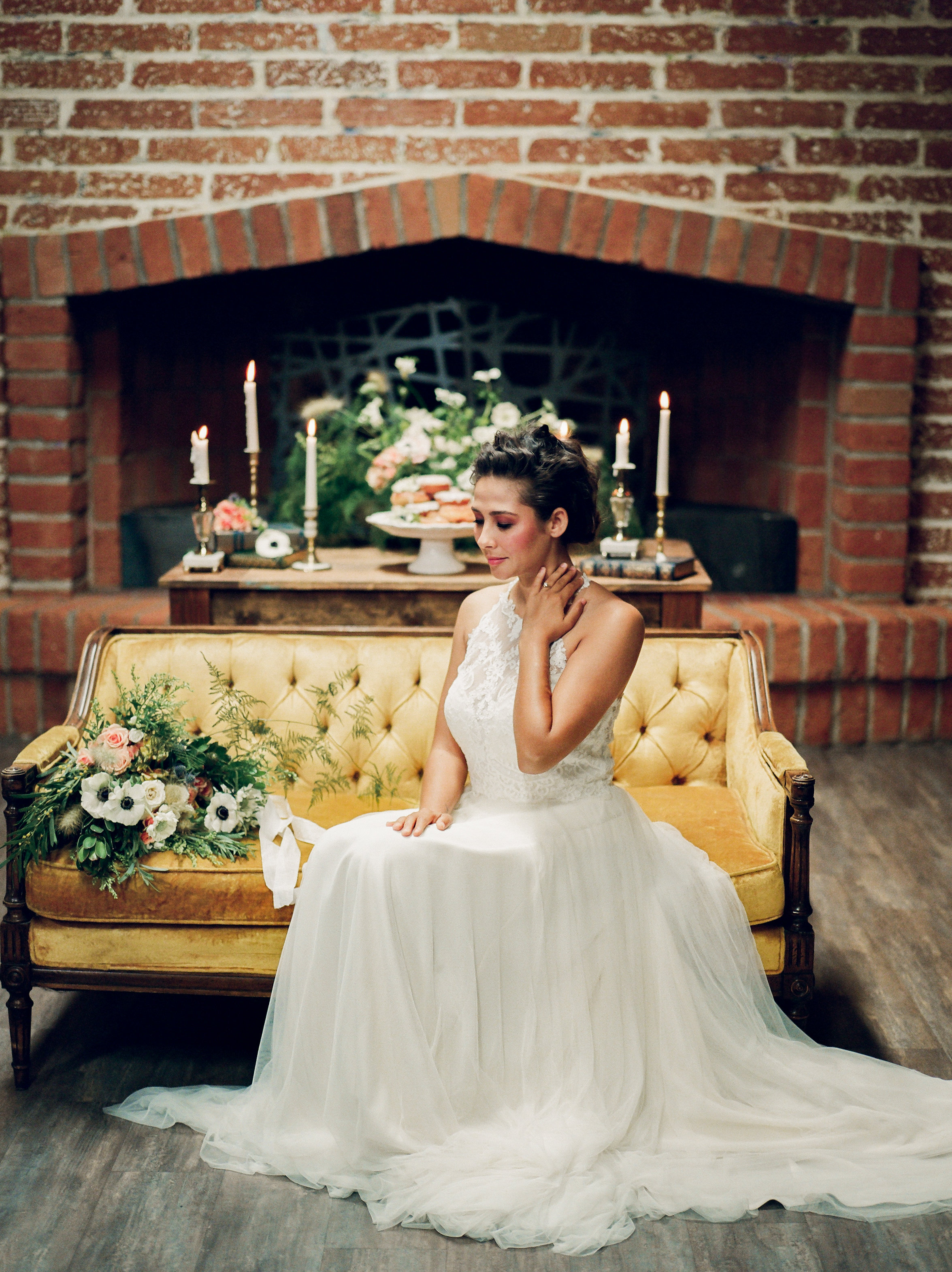 This bride sits in The Commons for photos before her wedding.
