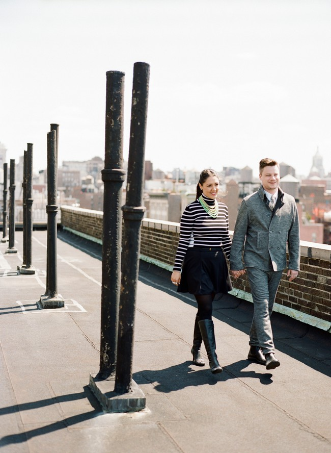 new york rooftop engagement session