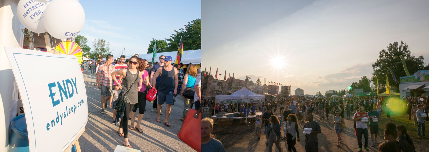 (1) Visitors to Toronto Ribfest at the Endy booth (2) The dinner rush is on