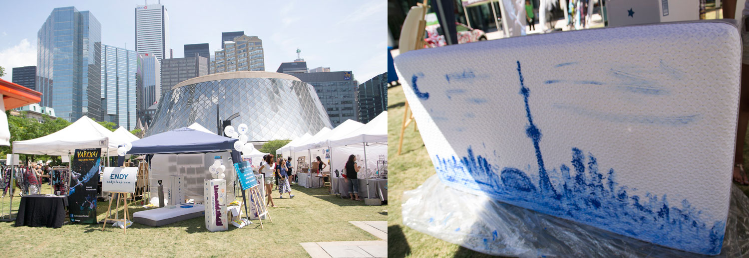Toronto Art Crawl seemed the perfect opportunity to paint a cityscape using our Endy mattress as the canvas