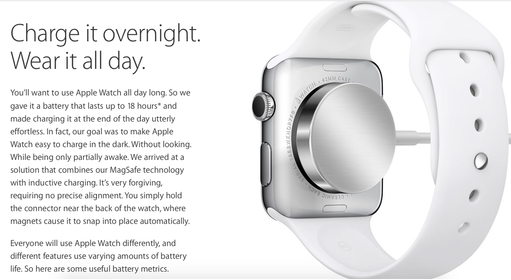 The Apple watch connected to an inductive charger.
