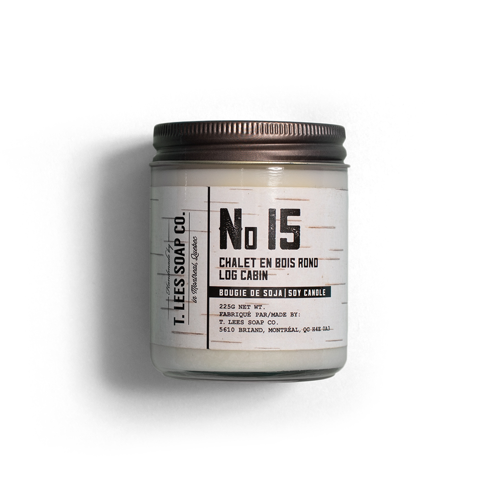 Scented candle - T. LEES SOAP CO.Montreal, QCA candle is a classic holiday gift. T.Lees' No. 15 Log Cabin Soy Candle is perfect for those cozy days by the fire. We're also big fans of the NO. 25 Douglas Fir scent, if you can't have a real tree of your own.