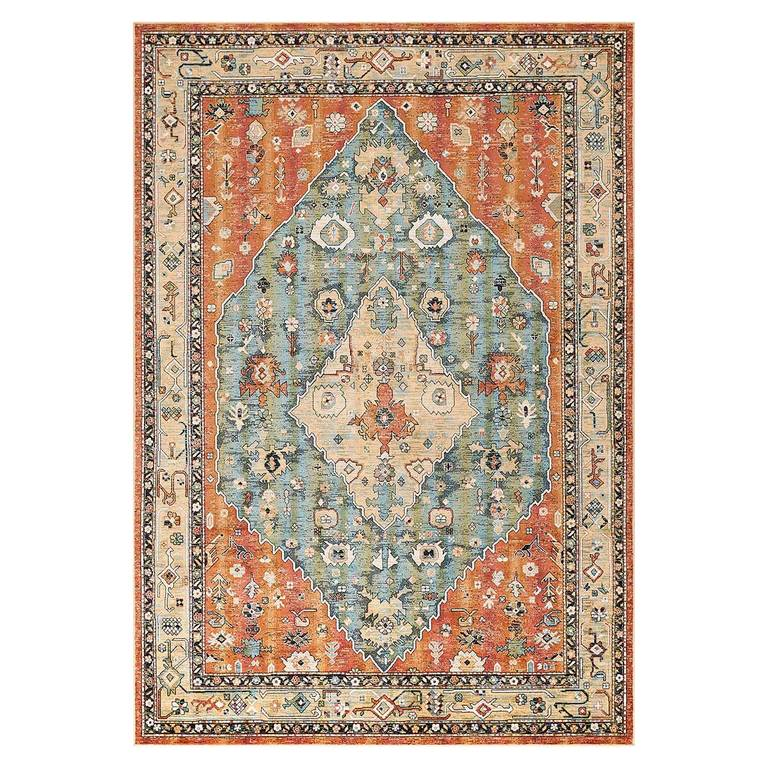 Faris Rug - It's surprising how much a space can change with a rug, and this one is a keeper. Spruce up your space with the beautifully coloured and designed Faris Rug.