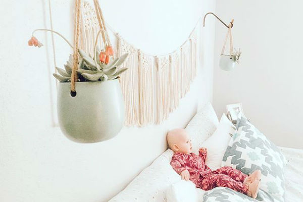 Keep it simple like  @thebergerbaby  and complement your bed with some hanging macrame and plants. It's light and fresh so you can rest easy.