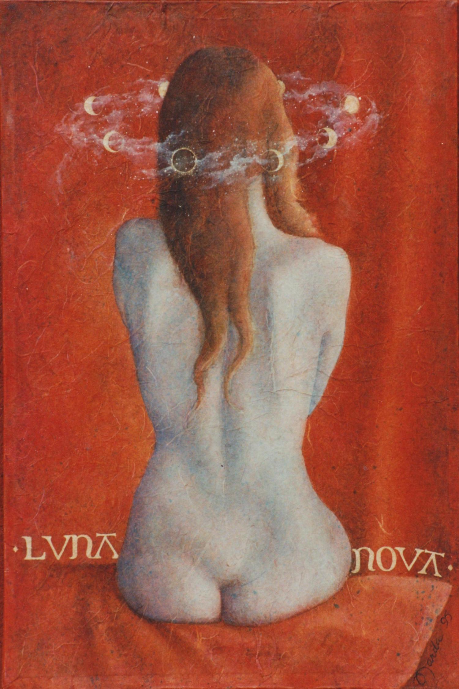 """Luna Nova Oil and unryo paper on canvas24"""" x 18"""""""