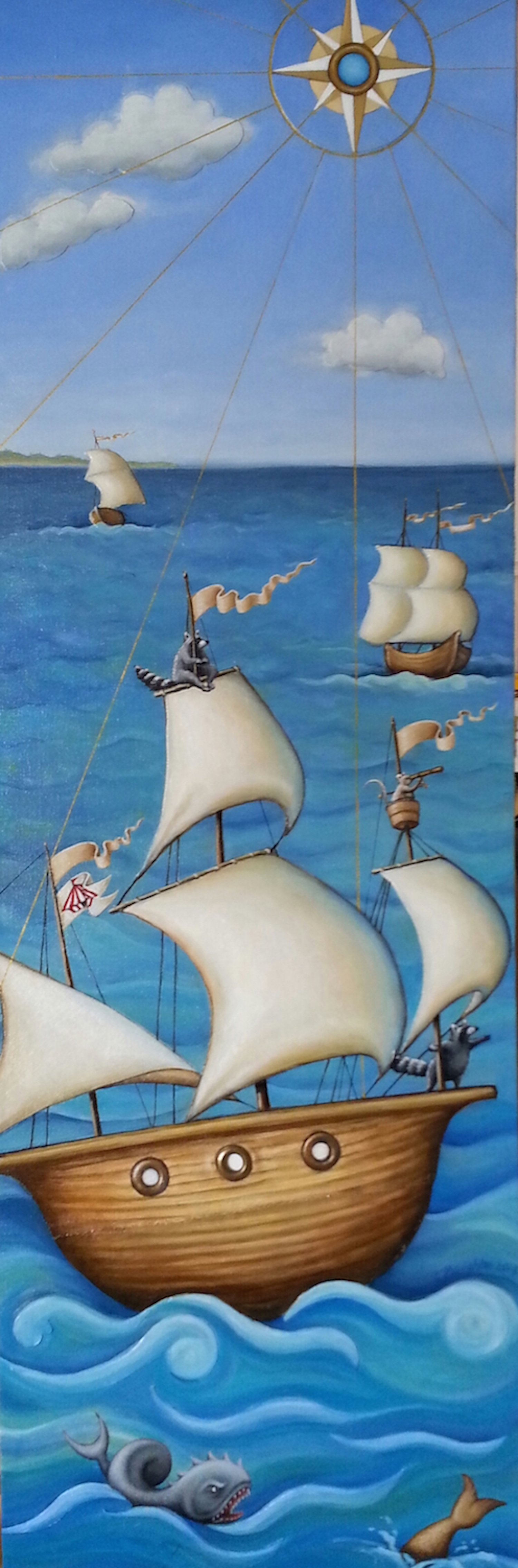 """The Tent Sails Oil & collaged canvas on canvas 32"""" x 12"""""""