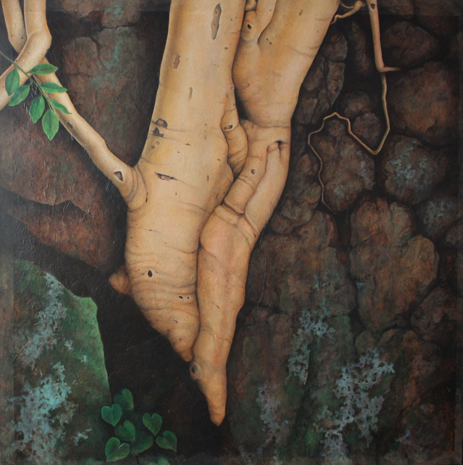 """Amate (diptych) bottom Oil and unryo paper on canvas 78""""x 39"""""""