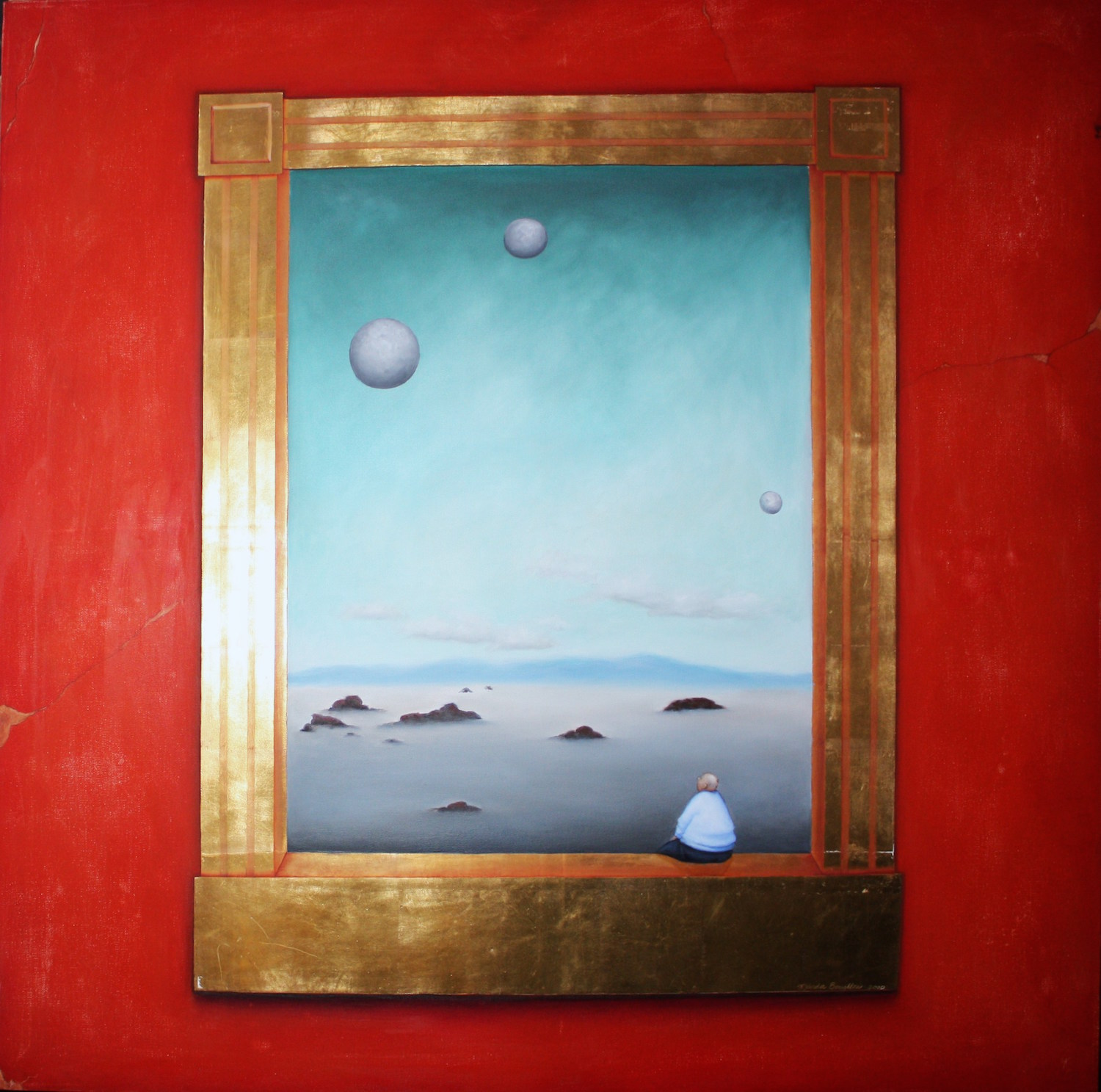 """Jupiter Person Oil and gold leaf on canvas36""""x 36"""""""