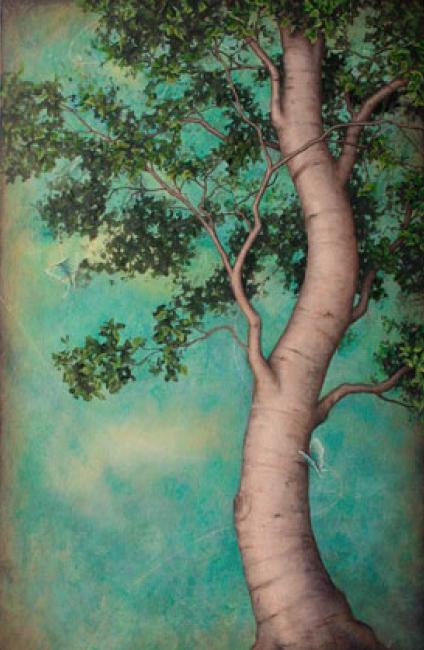 "Luna Moth Oil on canvas 60"" x 40"""