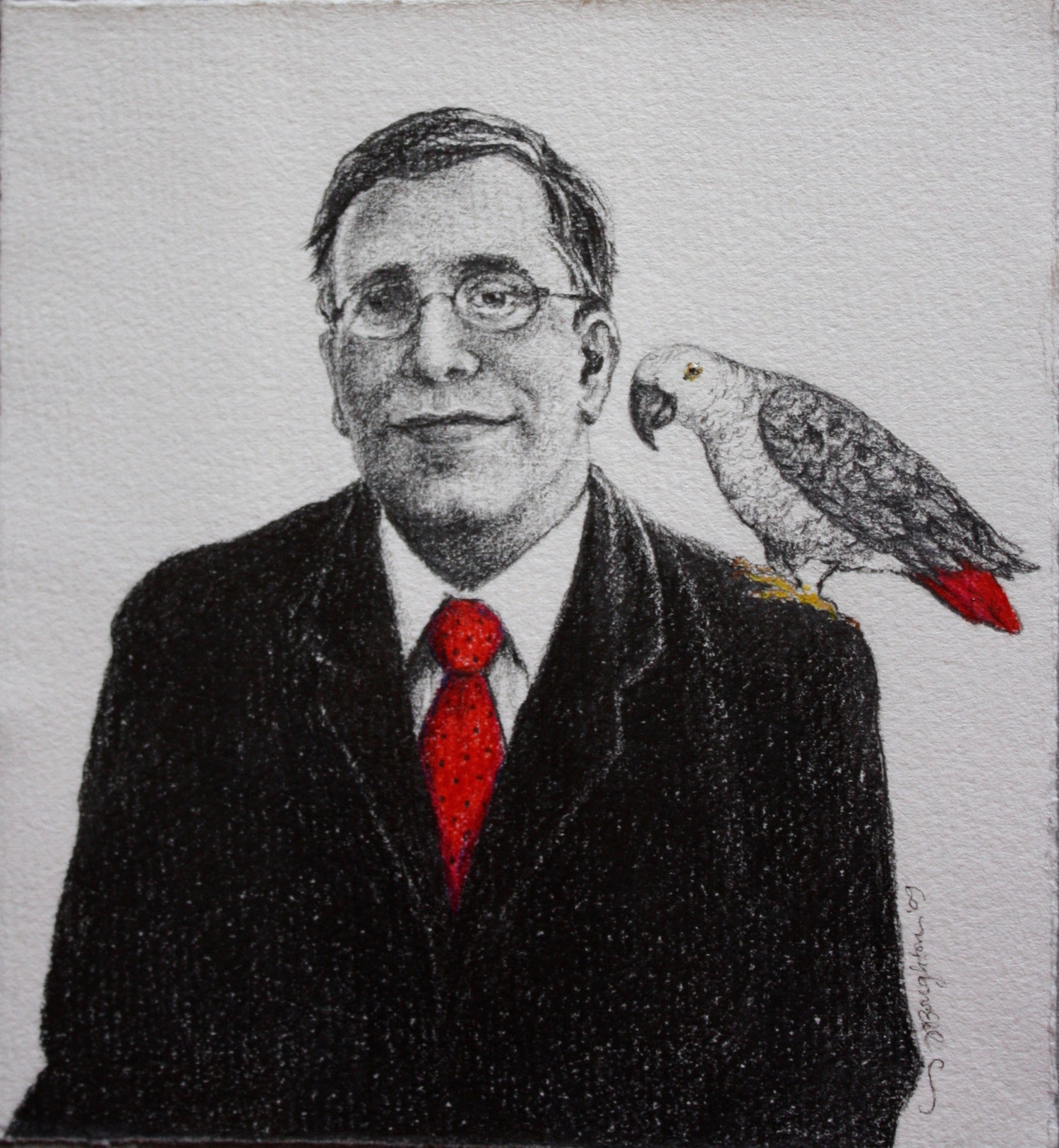 "Stringer, Presidential Portrait Graphite & colored pencil on paper  24"" x 22"""