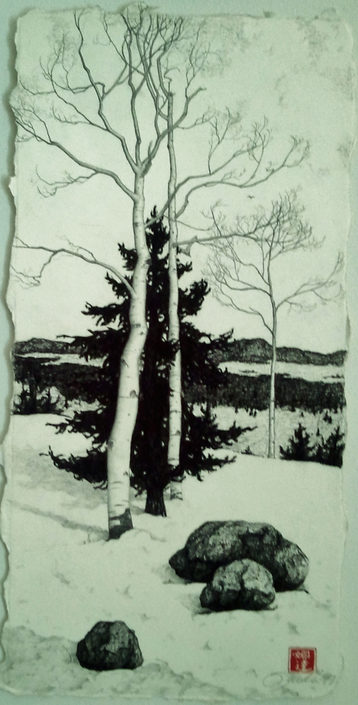 "Winter Graphite & Conte on Paper, 16""x10"""