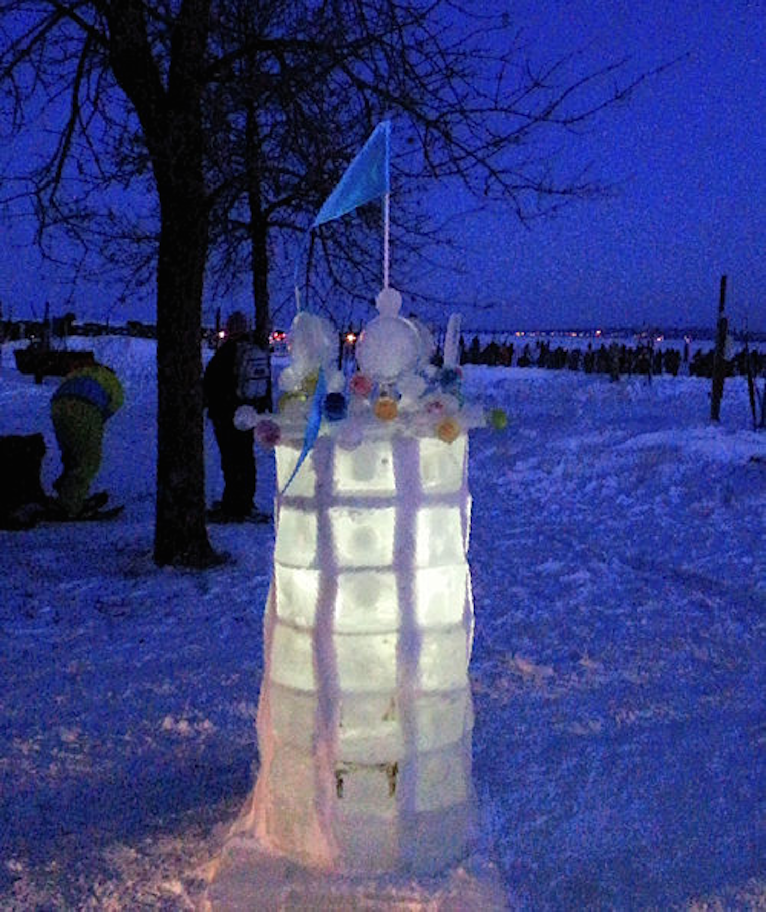 Tower Ice Sculpture for Book Across the Bay Ashland, Wisconsin, Feb 2015