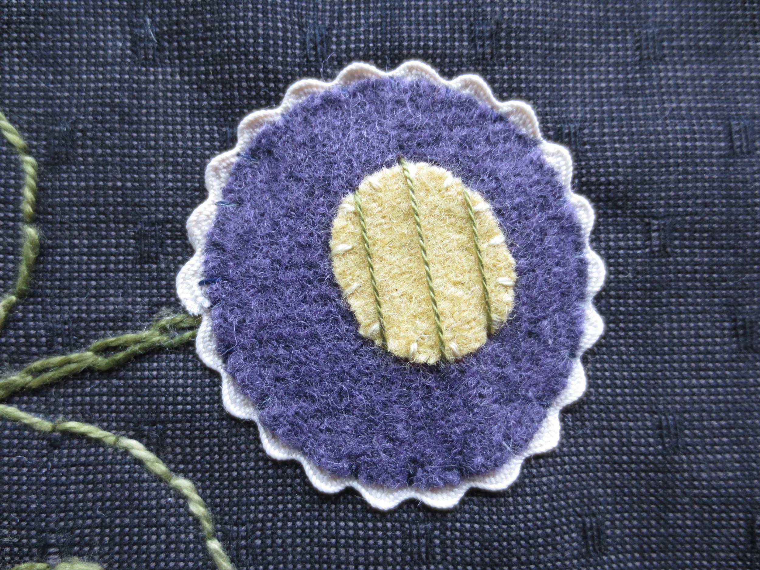 1st step of square laid stitch