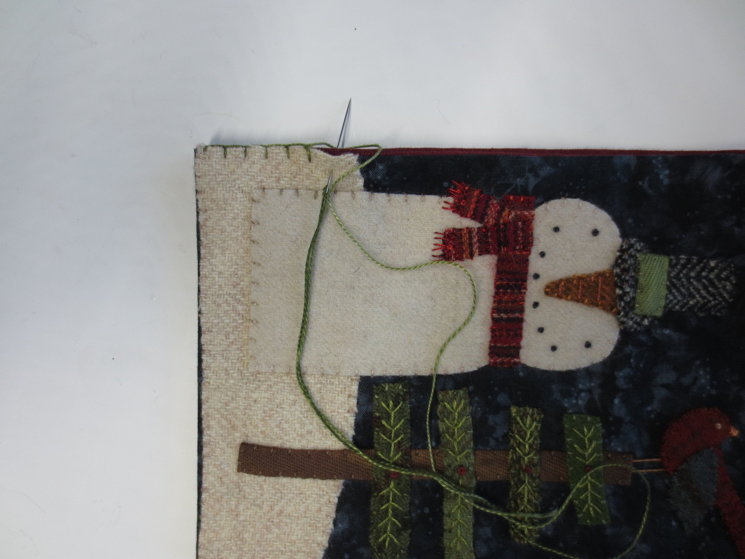 blanket stitch on notepad cover