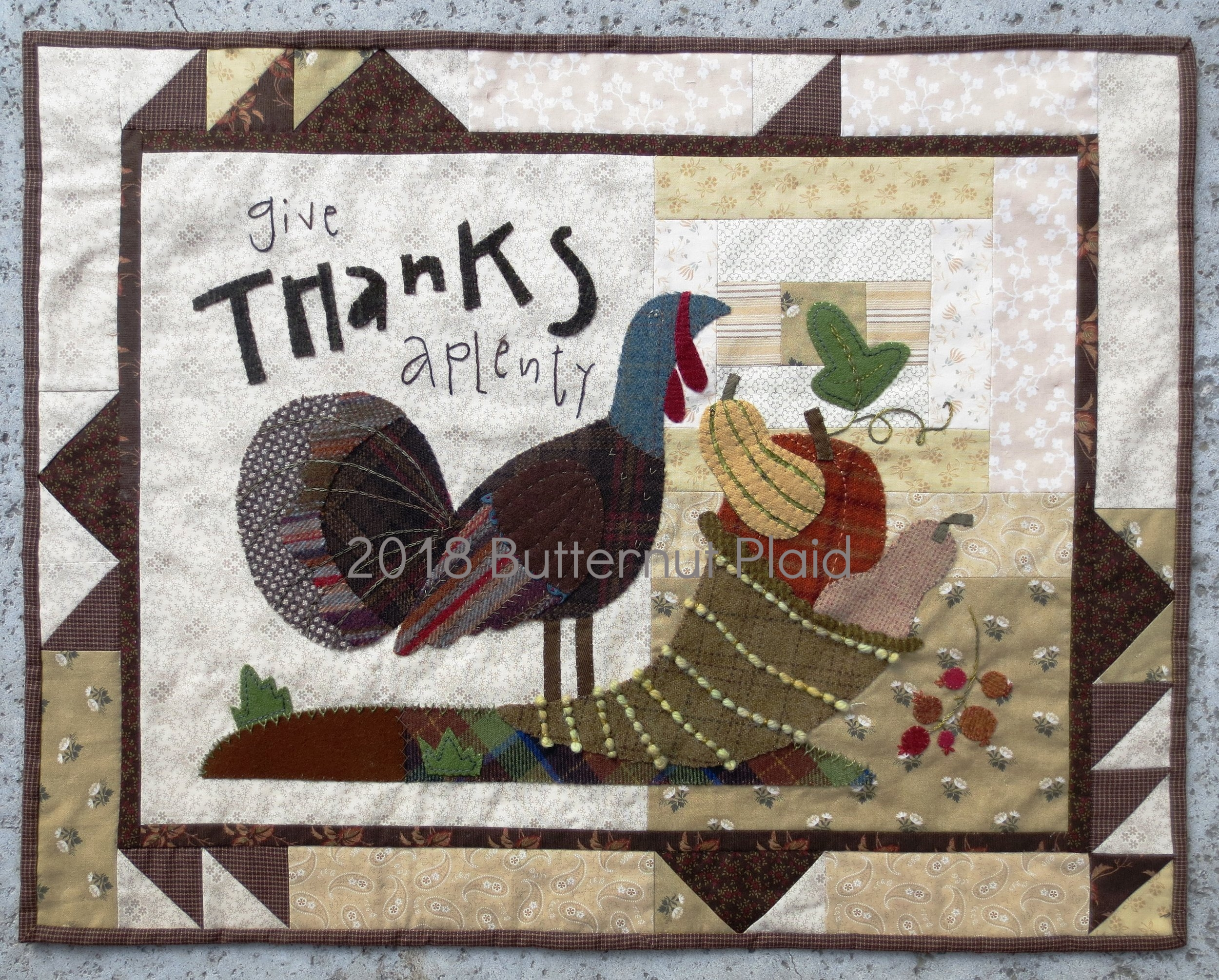 Give Thanks Aplenty wool applique fall table mat by Butternut Plaid