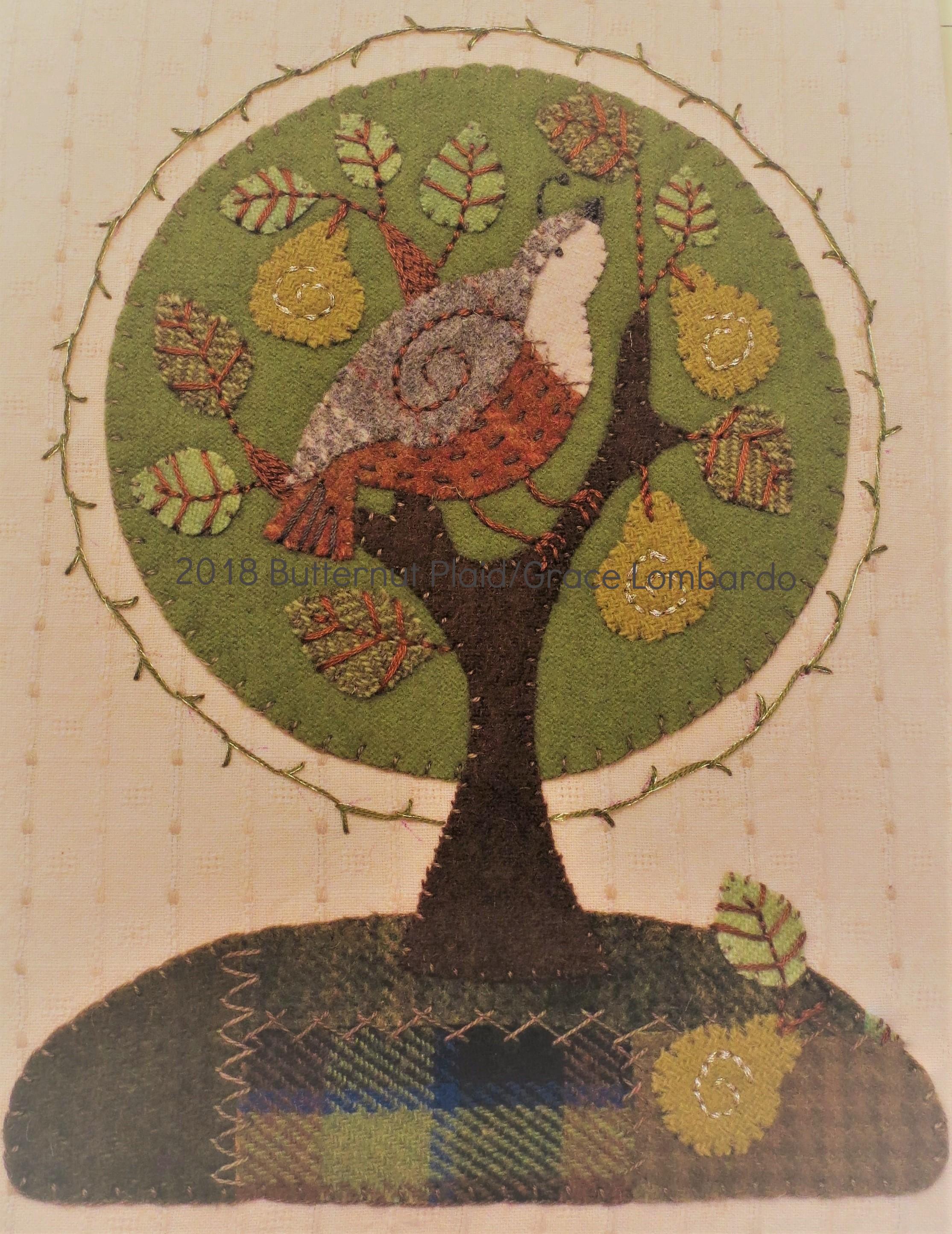 Partridge in a Pear Tree wool applique