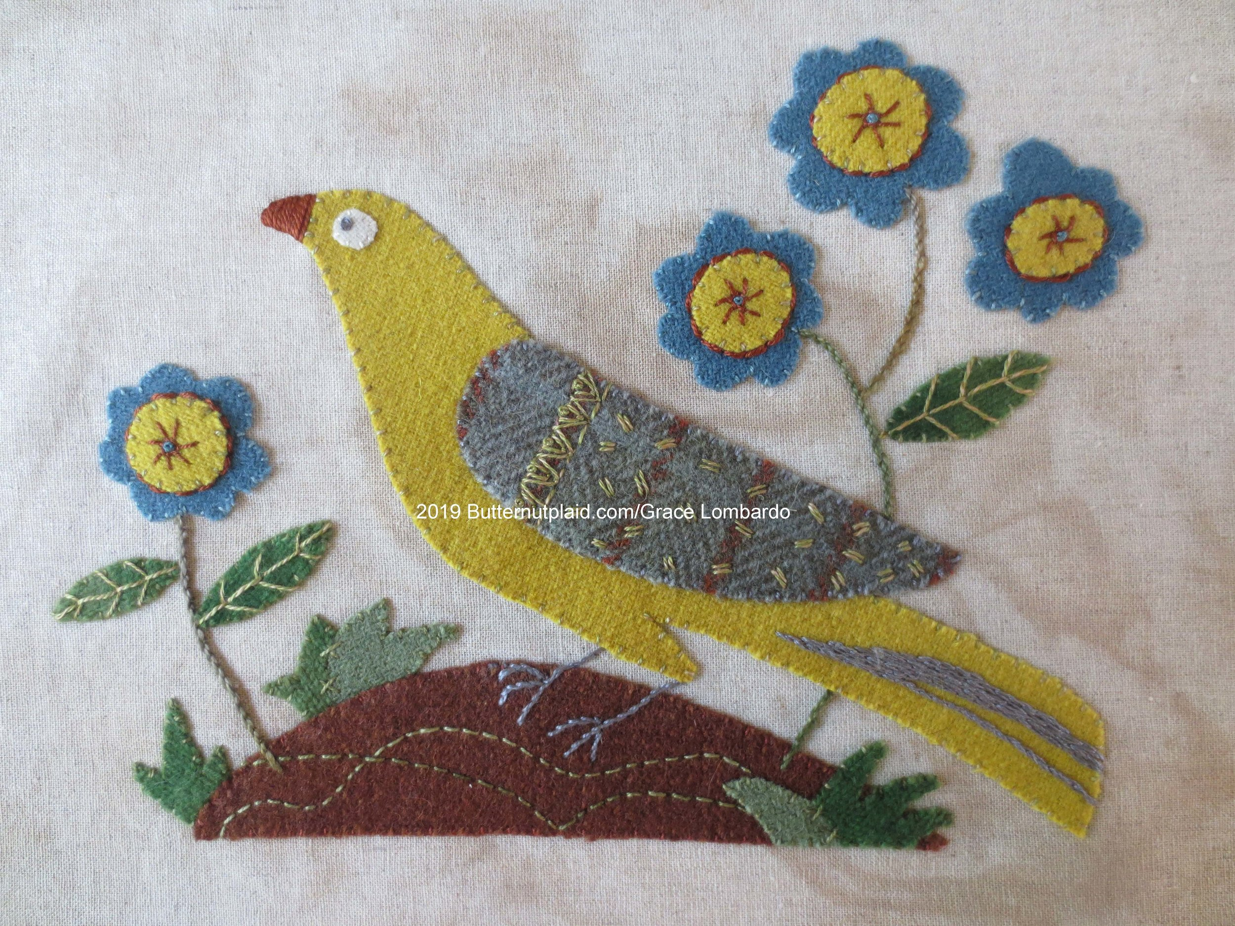 Audubon Inspired wool applique picture (6.25 x 9.0 inches)