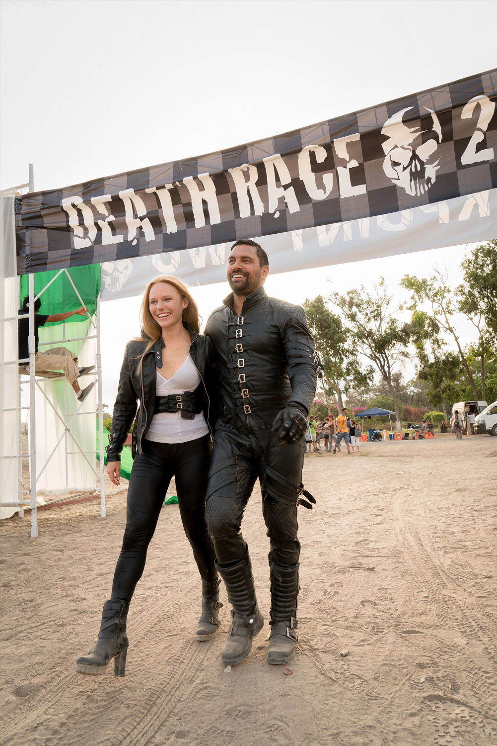 Manu Bennett and Marci Miller wrap out of Roger Corman's Death Race 2050