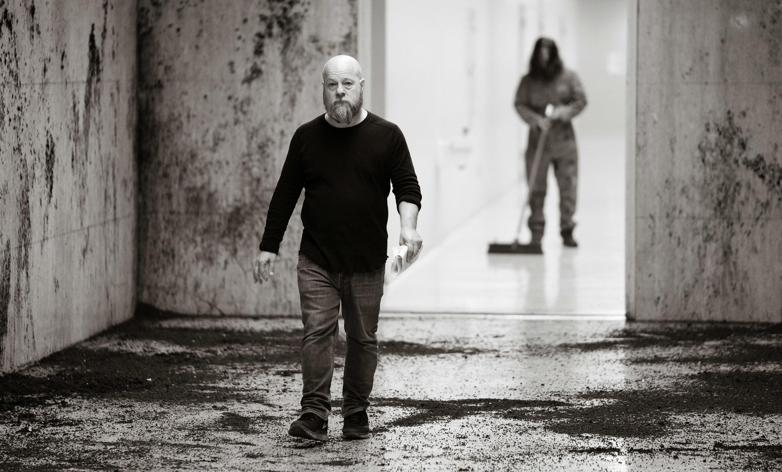 Director David Slade on the set of Nightmare Cinema.