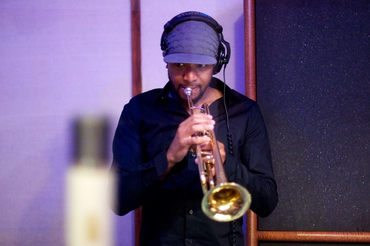 "Jamelle Adisa adds the finishing touches to ""Are You With Me!"" The Mudbug Brass Band"