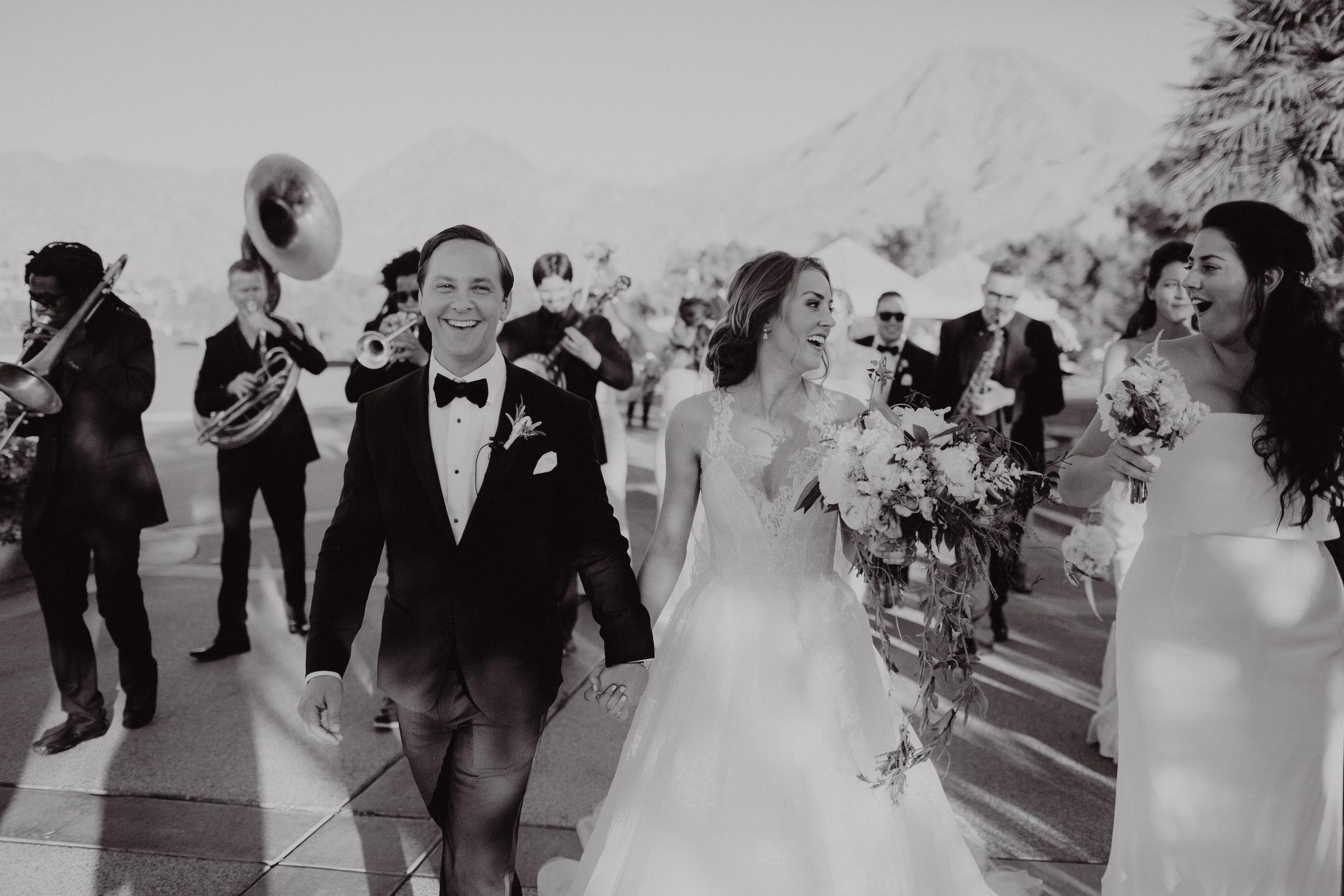 Liz + Josh Wedding in Palm Springs! The Mudbug Brass Band