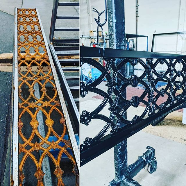 Flash rusting in all the rain yesterday, sand blasted and #powdercoated today, lookin good! #sandblasting #powdertough