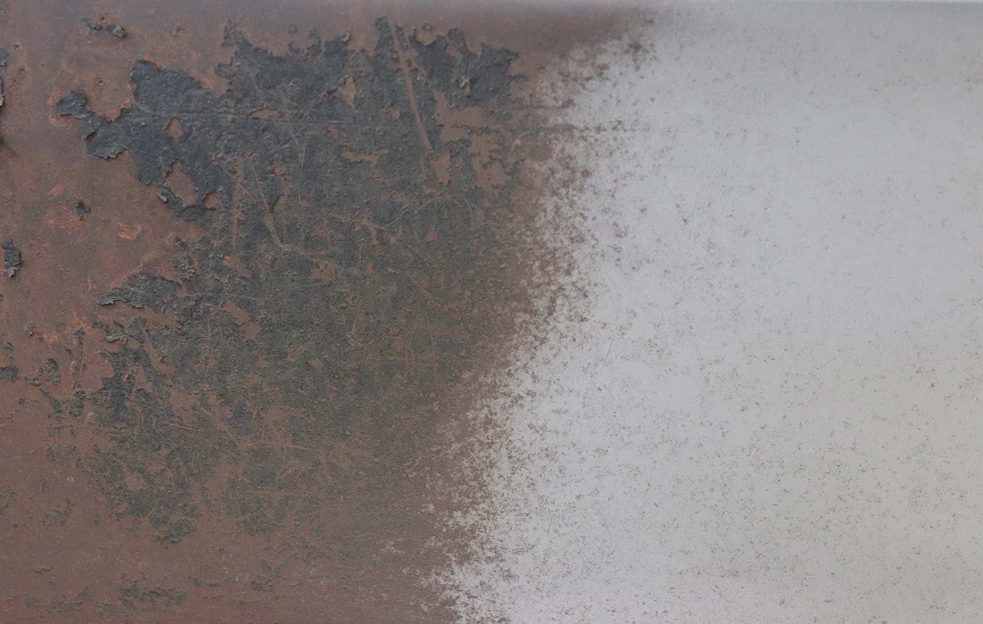 Night and day difference between the blasting and old rusty metal.
