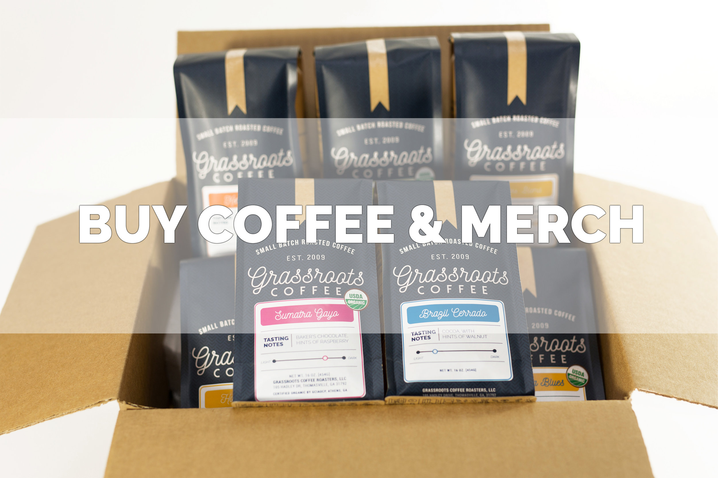 Buy Grassroots Coffee bags and merchandise.