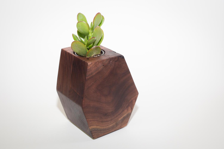 Walnut Hexagon Planter