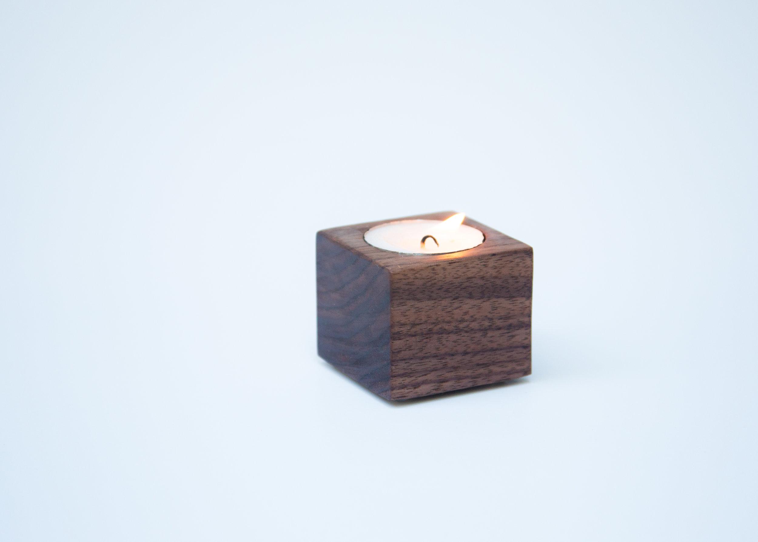 Walnut Cube Tea Candle Holder