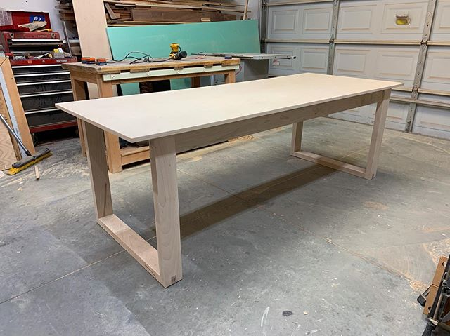 Maple table! Would you just look at it?! Soon after taking this photo, I took it all back apart so I could prep for stain and finish. Yep. That's right. You heard me. I said stain. I'm staining this table and I don't care who knows! Maybe I'll do it more often 🤷🏻♂️